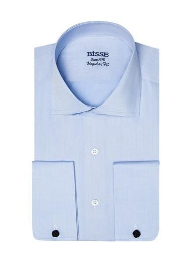 Bisse GM18K82113 Regular Fit Duble Manşet İtalyan Yaka Gömlek Mavi